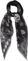 Alexander McQueen Shipping and skull-print silk-chiffon scarf