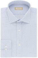 Michael Kors Men's Classic/Regular Fit Non-Iron Blue Print Dress Shirt