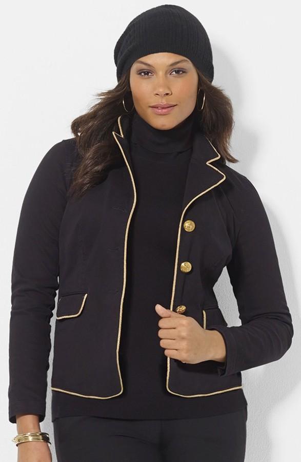 Lauren Ralph Lauren Contrast Trim Denim Jacket (Plus Size)