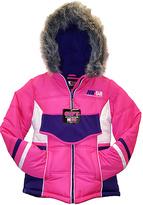 Hawke & Co Pink Color Block Faux Fur-Trim Hooded Jacket & Headband - Girls