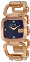 Gucci Women's Rose Gold Tone Stainless Steel G Black Dial Diamond Hour Markers