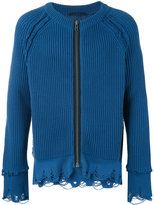 Haider Ackermann frayed ribbed zipped cardigan - men - Cotton/Cashmere - S