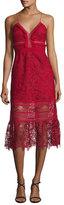 Self-Portrait Sleeveless Floral-Lace Midi Dress, Raspberry