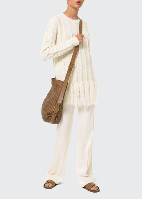 Michael Kors Collection Cashmere Cable-Knit Fringe Sweater