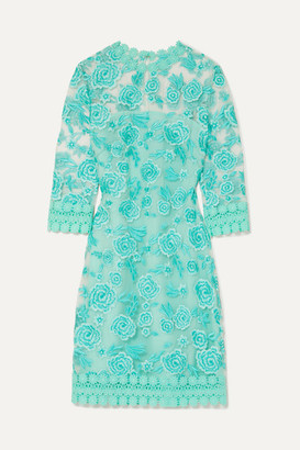 Naeem Khan Guipure Lace-trimmed Embroidered Tulle Mini Dress - Light blue