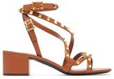 Valentino Garavani - Rockstud Flair Leather Sandals - Womens - Tan