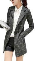 Friendshop Womens Plus Size Check Print Long Sleeve Lapel Slim Midi Suit Coat Blazer Jacket