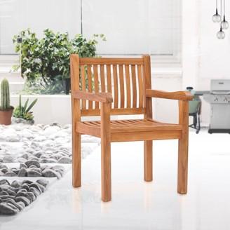 Chic Teak Elzas Teak Wood Indoor/ Outdoor Dining Arm Chair