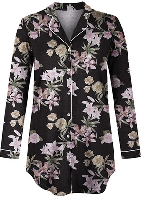 Jenize Women's Nightgowns Print - Black Floral Long-Sleeve Sleepshirt - Women & Plus