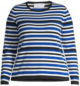 Thumbnail for your product : Joan Vass, Plus Size Stripe Knit Sweater