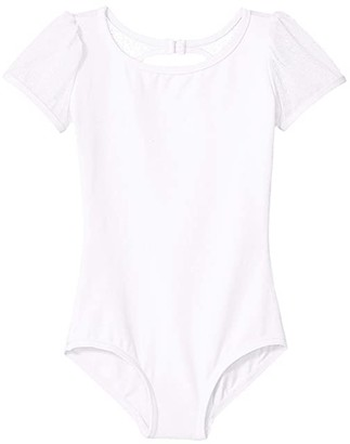 Capezio Puff Sleeve Keyhole Back Leotard (Toddler/Little Kids/Big Kids) (White) Girl's Jumpsuit & Rompers One Piece