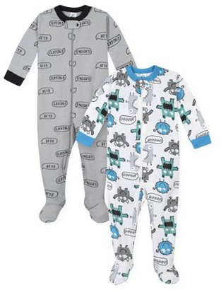 Gerber Baby Toddler Boys One-Piece Snug Fit Cotton Sleeper Pajamas, 2-Pack