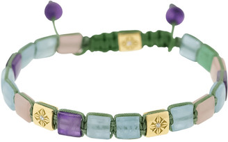 Shamballa Aquamarine, Amethyst, Quartz and Diamond Lock Bracelet