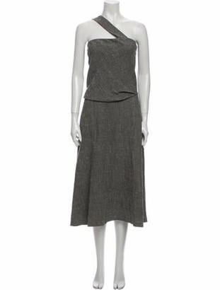 Rosie Assoulin Linen Midi Length Dress Grey