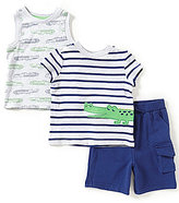 Little Me Baby Boys 12-24 Months Striped Top, Alligator-Print Tank, & Shorts Set