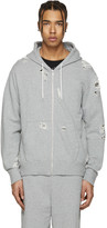 Miharayasuhiro Grey Distressed Zip-up Hoodie