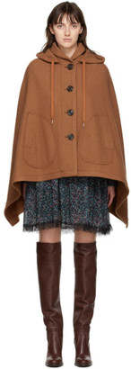 See by Chloe Brown Wool Cape Jacket
