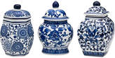 Mikasa Bombay Set of 3 Blue and White Ceramic Jars