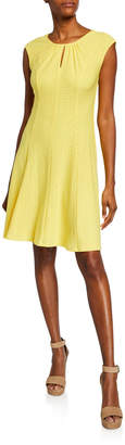 London Times Pleated Stretch Embroidered Dress