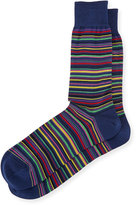 Bugatchi Stripe-Print Cotton-Blend Socks, Midnight