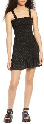 One Clothing Smocked Ruffle Hem Mini Dress