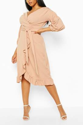 boohoo Plus Ruffle Wrap Tie Waist Midi Dress