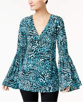 MICHAEL Michael Kors Animal-Print Bell-Sleeve Tunic