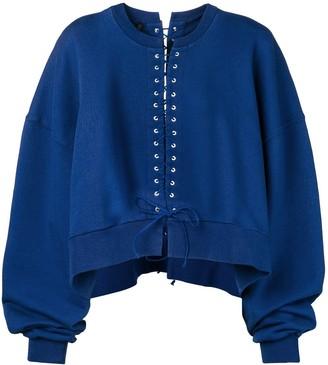 Unravel Project Lace-Up Oversized Sweatshirt