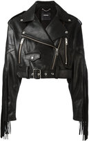 Diesel fringed biker jacket - women - Cotton/Calf Leather - S