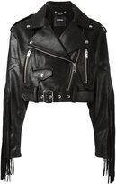 Diesel fringed biker jacket - women - Cotton/Calf Leather - XS