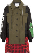 Moschino Hooded Printed Shell, Checked Wool-blend And Cotton-blend Canvas Jacket - Green