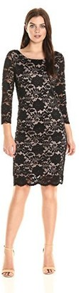 Tiana B T I A N A B. Women's 3/4 Sleeve Floral Scaloped Lace Shift