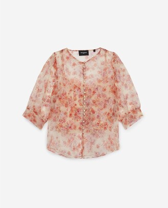 The Kooples Fitted floral printed see-through top