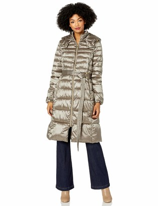 Cole Haan Women's Sateen Faux Down Belted Coat Down Alternative