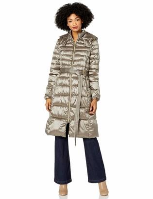 Cole Haan Women's Sateen Faux Down Belted Coat