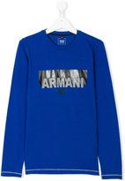 Armani Junior logo print long sleeve T-shirt