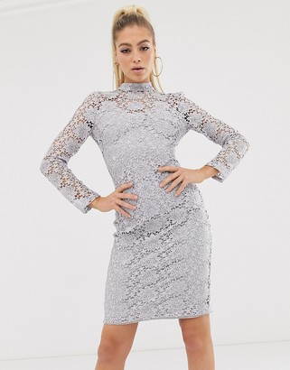 Club L London high neck crochet midi dress