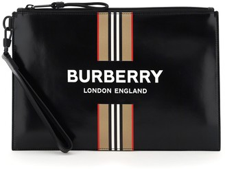 Burberry Logo And Icon Stripe Print Zip Pouch Bag