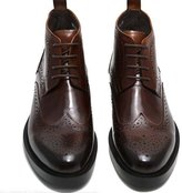 Fulinken Leather Oxford Brogue Wingtip Mens Lace up Boots Dress Leather Military Shoes (11, )