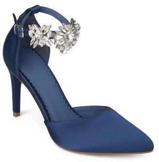 Brinley Co. Women's Satin Pointed Toe Rhinestone Ankle Strap D'orsay Stiletto Heels