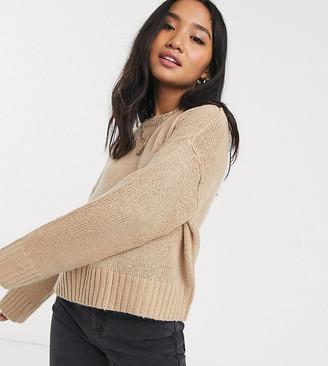 New Look Petite jumper in camel-Cream