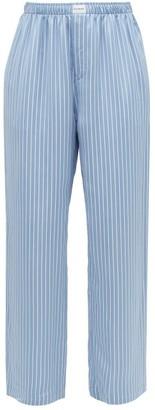 Balenciaga Striped Satin Wide-leg Pyjama Trousers - Womens - Blue