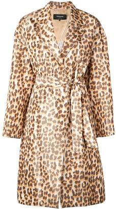 Rochas Leopard Print Belted Coat