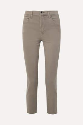 J Brand Kyrah Cropped Stretch Cotton-blend Twill Skinny Pants - Army green