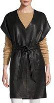 Bagatelle Short-Sleeve Leather Kimono Topper Jacket, Black