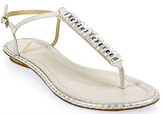Brian Atwood B by Callas - Flat Stone Sandal in White Leather