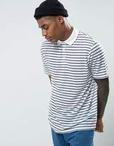 Asos Relaxed Stripe Polo Shirt In Linen Look Fabric