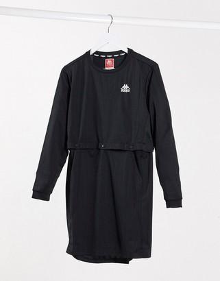 Kappa long sleeve t-shirt dress in black