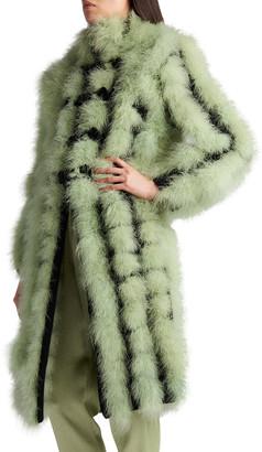 Giorgio Armani Cashmere Bicolor Feather Midi Coat
