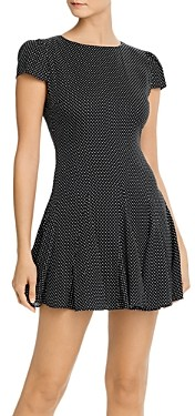 Alice + Olivia Dolly Dot Print Godet Mini Dress